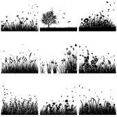 Hierba silueta conjunto — Vector de stock