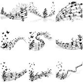 Musical notes staff set — Vector de stock