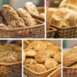 Baked bread in basket. series — Stock Photo