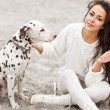 Happy woman with dog — Stock Photo
