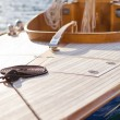 Beautiful wooden sailboat on blue sea ocean — Stock Photo #24034213