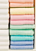 Colorful clean bath towels — Stock Photo