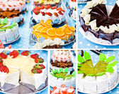 Collage with colorful beautiful cake — Stock Photo