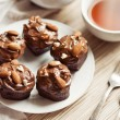 Black Forest Cupcakes with almonds - Stock Photo