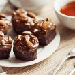 Black Forest Cupcakes with almonds — Stock Photo