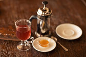 Red tea with honey on wood table. collage — Stock Photo