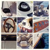 Yacht collage.Sailboat.Ya chting concept — Stock Photo