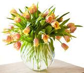 Bouquet of orange tulips isolated on white background — Stock Photo