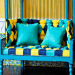 Yellow and blue sofa — Stock Photo