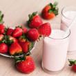 Fresh strawberry milk shake in a glass — Stock Photo