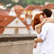 Young couple walking in old town of Prague — Stockfoto