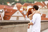 Young couple walking in old town of Prague — Stock Photo