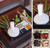 Spa massage setting with thai herbal compress stamps — Photo