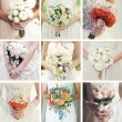 Collage of nine wedding photos with bouquets — Stock Photo