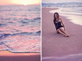 Collage of beautiful woman posing in the beach on sunset — Stock Photo