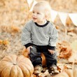 Happy child with pumpkins on sunset — Stock Photo #27751403