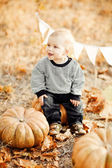 Happy child with pumpkins on sunset — Stock Photo