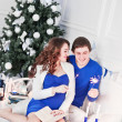 Happy Couple under Christmas Tree in their Home — Stock Photo