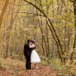 Stock Photo: Kissing bride and groom in their wedding day near autumn tree in the forest