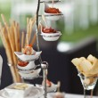 Luxury food and drinks on wedding table. Different sort of canape for a self service buffet — Foto Stock