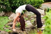 "Spiritual fit woman doing yoga pose ""Bridge"" — Stock Photo"