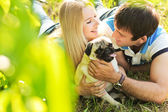 Cute couple having fun with their dog at the park — ストック写真