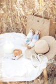 Picnic detail: hat, milk, tilda, croissant, shoes on white plied in nature — Stock Photo