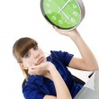The business woman with clock in hands — Stock Photo #19300409