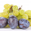Stock Photo: Bunch of fresh grapes and plums
