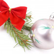 Closeup photo of a nice colorful Christmas decoration bauble hanging on Christmas tree. Isolated on white. — Stock Photo