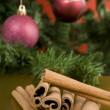 Stock Photo: Decorative branch with christmas balls
