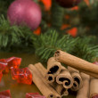 Decorative branch with christmas balls — Stock Photo
