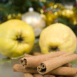 Cinnamon and apples — Stock Photo