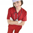 Attractive lady doctor smiling isolated on white — Stock Photo