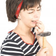 Young woman with hammer — Stock Photo