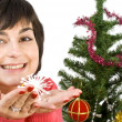 Young woman decorating — Stock Photo
