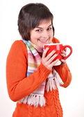 Muy joven bebiendo té caliente — Foto de Stock