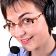 Stock Photo: Call center woman with headset.