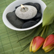 Spring zen like SPA with red tulips — Stock Photo