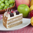 Cake in the plate with fruits — Stock Photo