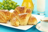 Croissants in plate — Stock Photo