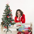 Christmas girl and gift — Stock Photo
