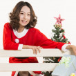 Christmas girl and gift — Stock Photo #15553925
