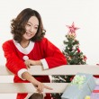 Christmas girl and gift — Stock Photo #15554007