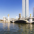 Modern bridge and building in Tianjin city of China — Stock Photo #15842609