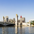 Modern bridge and building in Tianjin city of China — Stock Photo #15844373