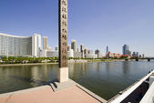 Modern bridge and building in Tianjin city of China — Stock Photo