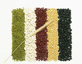 Mixed beans and wheat — Stock Photo