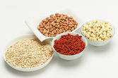 Mixed grains in bowls — Stock Photo