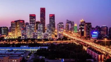 Jianwai SOHO,the CBD skyline sunset in Beijing,China — Stock Video